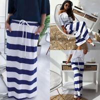 Women's Stripe SKIRT Long Maxi Skirt High Waist Summer Beach Casual Skirt Dress