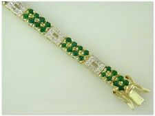 JDL GREEN AGATE & DIAMOND TENNIS BRACELET