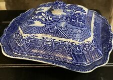 Antique English Covered Flow Blue Willow Covered Vegetable Bowl
