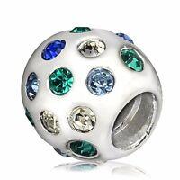 European Bead 925 Silver Charms Colorful Rhinestones Fit Sterling Women Bracelet
