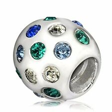 European Bead 925 Silver Charms Colorful Rhinestones Fit Sterling Women Bracelet