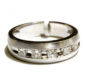 New 14k white gold princess 1.04ct diamond SI2 H wedding band ring mens 10.25