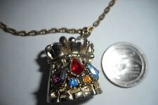 VINTAGE Locket Necklace Collar Rhinestones Red Purple Blue Yellow Chain Gold