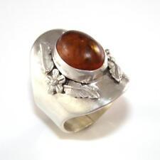 Carol Felley Vintage Estate Sterling Silver Orange Amber Wide Flower Ring Size 9