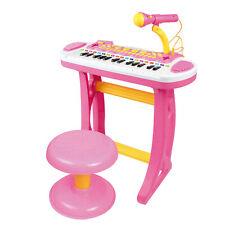 Qaba Kids Toddler Toy Piano Keyboard w/ Sitting Stool & Working Microphone