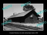 OLD LARGE HISTORIC PHOTO OF CRAWFORD NEBRASKA THE RAILROAD DEPOT STATION c1960