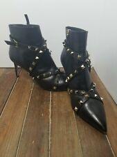 VALENTINO GARAVANI BLACK LEATHER STUDWRAP ROCKSTUD BOOTIES Heels 38.5