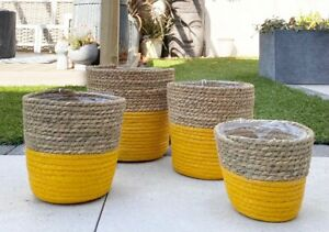 Rustic Basket Planter Yellow Woven Lined Plant Pot Herb Flower Storage Holder