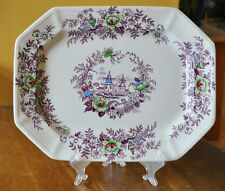 Lovely Antique Purple Transferware Polychrome Ironstone Platter Wedgwood Tyrol