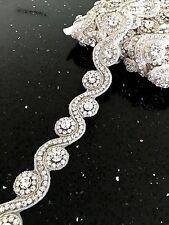Rhinestone Crystal Diamante Beaded Applique Trim Bridal Wedding Sash Belt Motif
