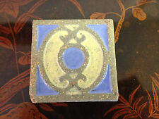 Antique Arts & Crafts Tile w/ Blue & Yellow Green Decoration