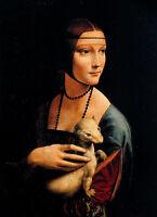 Oil painting Leonardo da Vinci nice young woman with her pet Ferrets ermine art