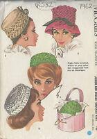 "1962 Vintage Sewing Pattern HAT S21 1/2""-22 1/2"" (R582)"