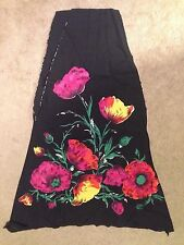 2 PANEL VINTAGE 1950'S ITALIAN FABRIC FOR SKIRT PRINTED FLORAL MULTI COLOR