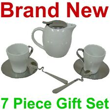 NEW 7 PIECE WHITE CERAMIC WILD LEAF TEA SET,POT/CUPS,STAINLESS LID,MESH INFUSER