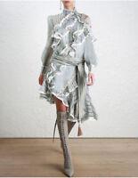 ALXP08 Women Designer Inspired Cut Out Shoulder Striped Asymmetric Ruffles Dress