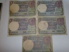 -INDIA PAPER MONEY- 5  'ONE RUPEE'  OLD NOTES - 1984-1987 - RARE - 2 SIGNATORIES