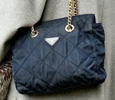 PRADA Vintage Nylon Leather Shoulder Bag Damen Schultertasche Tasche dunkel Blau