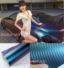 "12"" x 60"" - 3D Car Chameleon Carbon Fiber Vinyl Wrap Sticker Green / Purple AC"