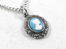 Cameo Victorian pewter pendant and chain
