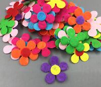 DIY 100Pcs Flowers shape Felt Appliques Mixed Colors Die Cut Cardmaking Crafts