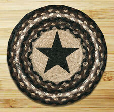 "BLACK STAR 100% Natural Braided Jute Swatch, 10"" Trivet/Placemat, by Earth Rugs"