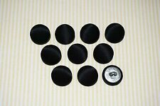 10 Luster Poly Fabric Covered Buttons - Black (20mm)