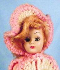 Vintage Hard Plastic Doll Blonde Mohair Wig Pink Cream Knit Gown Retro 1950s