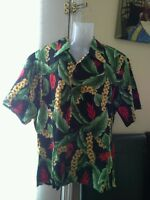 Forever paradise hawaii hawaiian shirt L floral red yellow green black button up