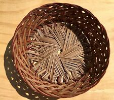 Vintage Circle Woven Wicker Basket decor design storage 11 x 11 x 4