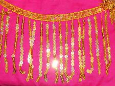 Vestido de encaje 1m 15cm oro Holograma halos de lentejuelas con flecos de Disfraz de danza recorte neto