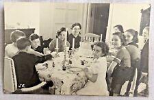 1940s-50s Birthday Party Real Photo Postcard Carousel Cake ANSCO Stamp Box