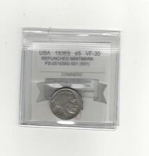 **1936S Repunched Mintmark** USA, Five Cent, Buffalo Nickel, FS-051936S-501