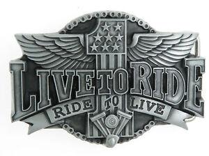 Live Ride Motorcycle Biker Silver Metal Belt Buckle