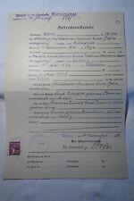 altes Dokument Heiratsurkunde Coburg 1939 mit Gebührenmarke