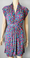 New French Connection size UK 4 - 6 Navy Blue Red Floral Print Tunic Dress
