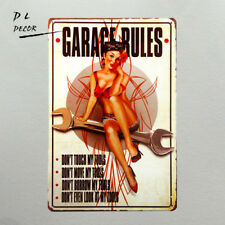 DL-Vintage home decor Garage Rules Pin Up Girl metal tin Sign art wall decor