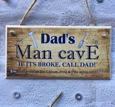 Personalised Dad Daddy Man Cave Shed Garage Plaque Sign Gift Keepsake Birthday