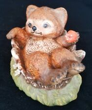 1986 Homco Masterpiece Porcelain Figurine Baby Bear In A Stump