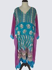 """3X 4X 5X Chiffon Kaftan L 42"""" Embroidered Caftan Tunic Dress EP79"""