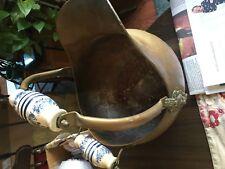 ANTIQUE COPPER COAL SCUTTLE BUCKET~PORCELAIN HANDLES & LIONS HEAD~ESTATE FIND