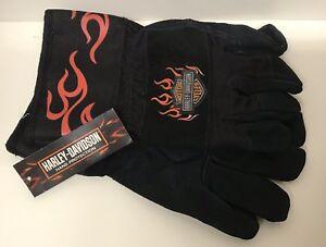 Harley Davidson Leather Palm Work Gloves One Size Adult Black