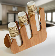 Paper Dixie Cup Lid Holder Dispenser Wood Organizer Coffee Shop Counter Cafe