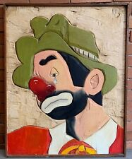 Vintage 80s Hand Carved Wood Sad Circus Clown Painting Modern Art Wall Hanging