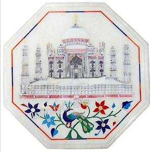 12 x 12 Inches White Marble Coffee Table Top Taj Mahal Replica Inlaid End Table