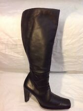 George Black Knee High Leather Boots Size 4