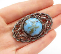925 Sterling Silver - Vintage Cabochon Cut Turquoise Swirl Brooch Pin - BP4971