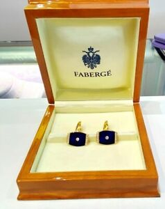 Faberge' 18KY Gold Diamond & Blue Guilloche' Enamel Cufflinks 0.36 Carats