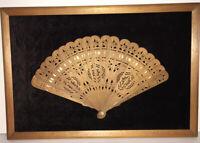 Carved Wood Fan Folds Victorian Style With Black Velvet Back Wood Framed Antique