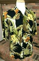 HAWAIIAN PALM 100% Rayon Floral Aloha Camp Shirt ~ Men's L / Black ~ NWT